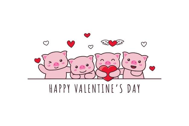 Nettes schwein, das glückliches gekritzel des valentinstags zeichnet
