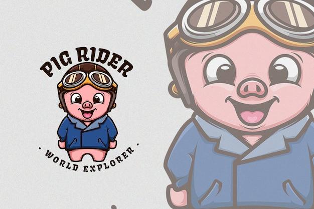 Nettes schwein, das klassische bikerjacke und -helm trägt