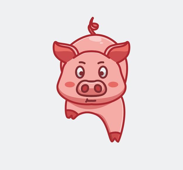 Nettes schwein, das langsam nach vorne geht. cartoon-tier-natur-konzept isolierte abbildung. flacher stil geeignet für sticker icon design premium logo vektor. maskottchen-charakter