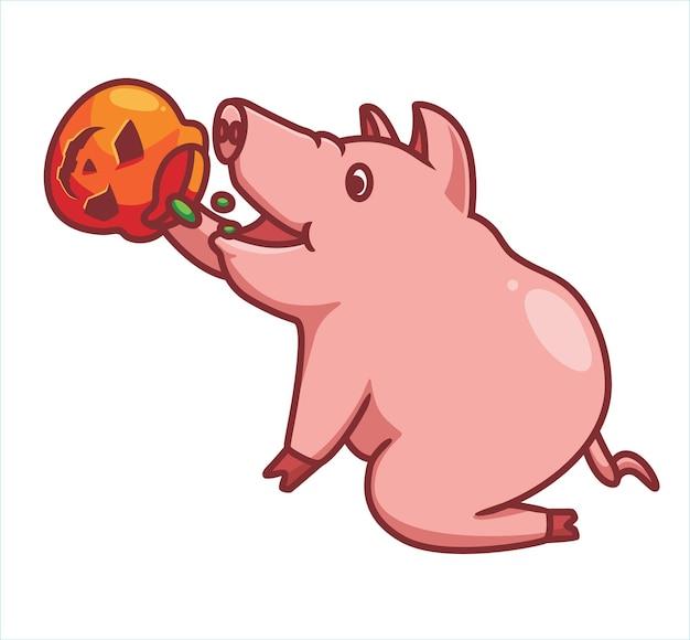 Nettes schwein, das lebensmittelkürbis isst isolierte cartoon-tier-halloween-abbildung flat style