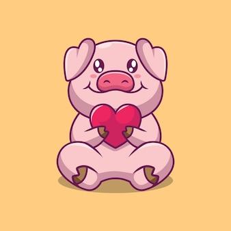 Nettes schwein, das liebeskarikaturillustration hält
