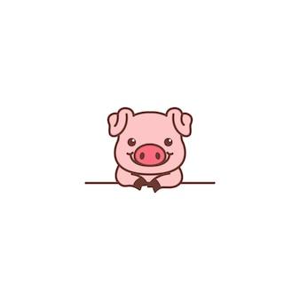 Nettes schwein, das über wandkarikatur lächelt
