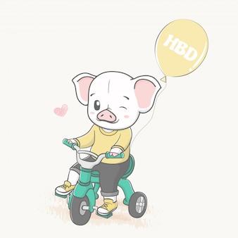 Nettes schwein fahren ein dreirad mit der gezeichneten ballonkarikaturhand