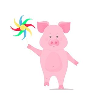 Nettes schwein geht und hält ein windradspielzeug. lustiges tier. schweinchen-cartoon-figur. das symbol des chinesischen neujahrs 2019.