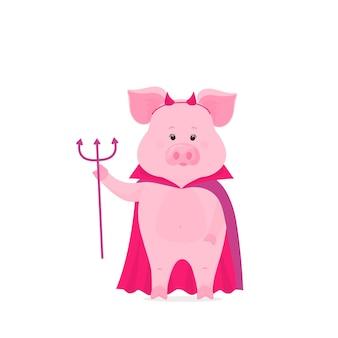 Nettes schwein in einem regenmantel und hörnerkobold. ferkel mit hörnern und einem dreizack. kostüm für halloween.