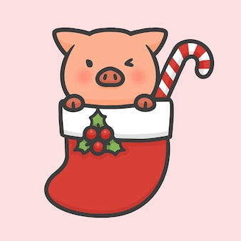 Nettes schwein in gezeichneter karikatur der sockenweihnachten hand