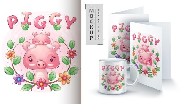 Nettes schwein mit baby merchandising.