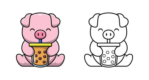 Nettes schwein mit bubble tea cartoon malvorlagen für kinder Premium Vektoren