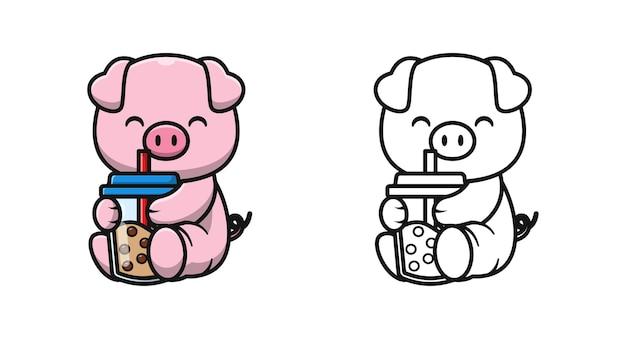 Nettes schwein mit bubble tea cartoon malvorlagen für kinder