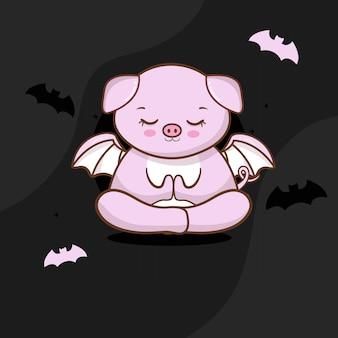 Nettes schwein mit halloween kostenlosen vektoren