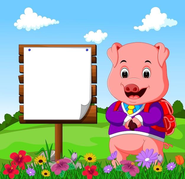 Nettes schwein mit hölzerner zeichenkarikatur