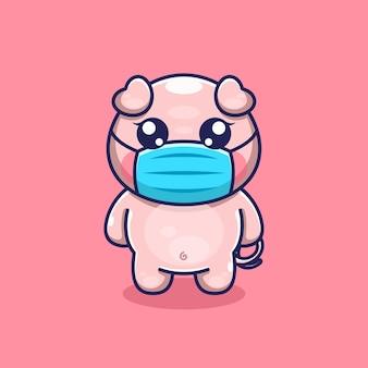 Nettes schwein mit masken-cartoon-design