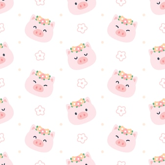 Nettes schwein mit nahtlosem muster der blumenkrone