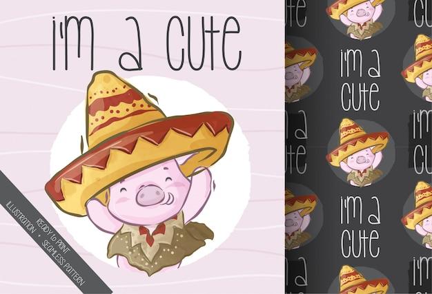Nettes schwein mit nahtlosem muster des mexikanischen sombrero-stils