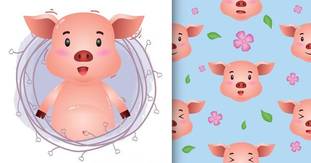 Nettes schwein mit zweigen nahtloses muster und illustration