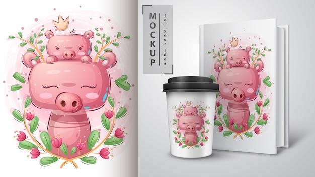 Nettes schwein - plakat und merchandising