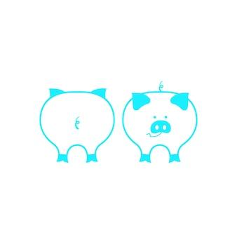 Nettes schweinchen und schweinehintern. dekor für das chinesische neujahr 2019.