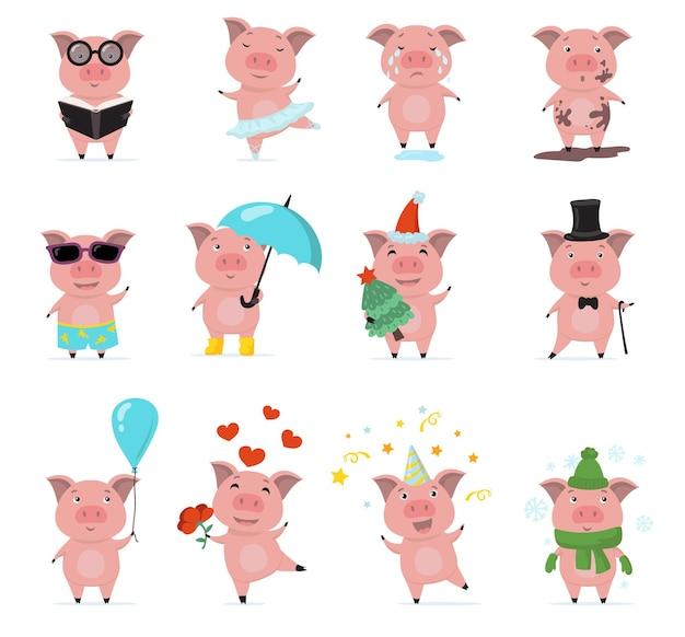 Nettes schweinchen zeichen flaches set