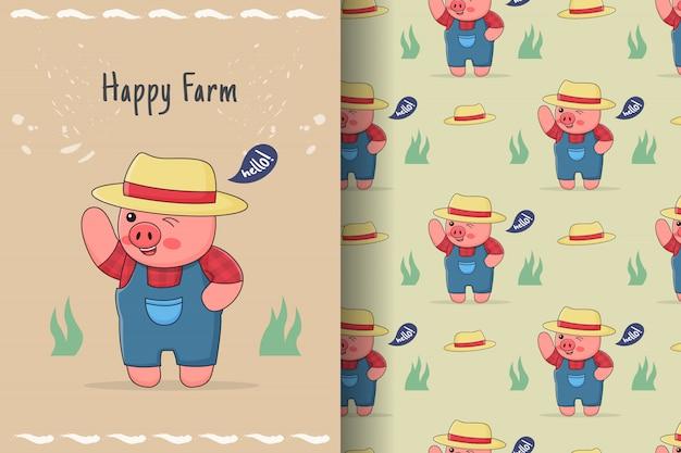 Nettes schweinchenfarmer nahtloses muster und karte
