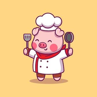 Nettes schweinekoch-tierfutter