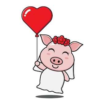 Nettes schweinemädchen, das liebesballon hält Premium Vektoren