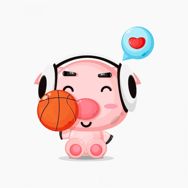 Nettes schweinemaskottchen, das basketball spielt