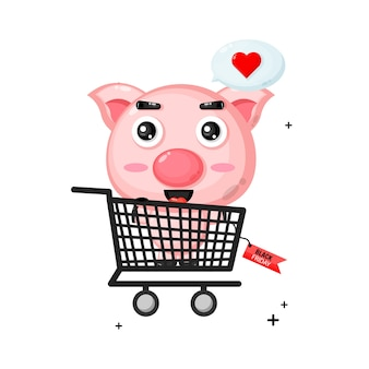 Nettes schweinemaskottchen im einkaufswagen mit schwarzem freitagsrabatt