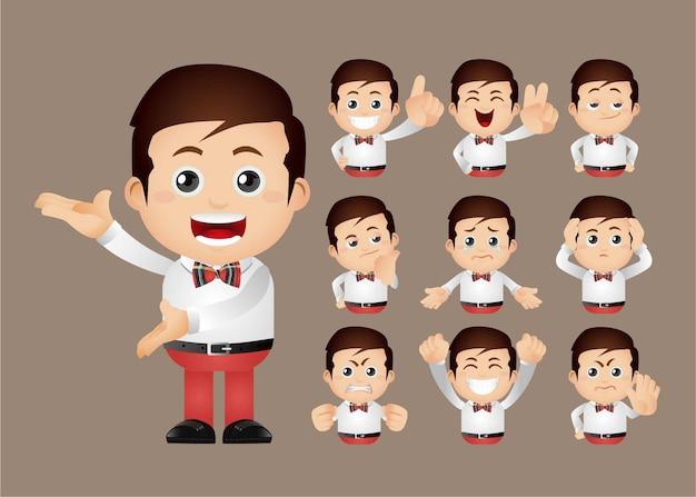 Nettes set - set von arbeitern mit verschiedenen emotionen
