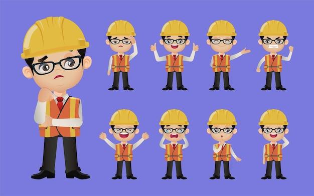 Nettes set set von ingenieuren mit unterschiedlichen emotionen