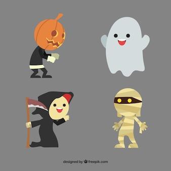 Nettes set von halloween-figuren