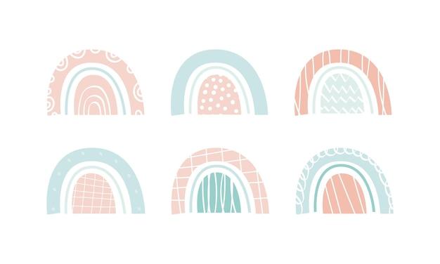 Nettes skandinavisches gestaltungselement. regenbogen im boho-stil. ein satz von 6 elementen. design von aufklebern, aufklebern, druck zum drucken. vektorillustration, handgezeichnet