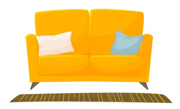 Nettes sofa mit kissen und teppich lokalisiert auf weißer hintergrundinnenausstattungsvektorillustration