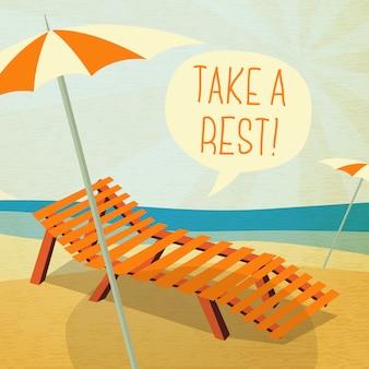 Nettes sommerplakat - sonne baden auf der chaiselongue mit regenschirm, sprechblase für ihren text.