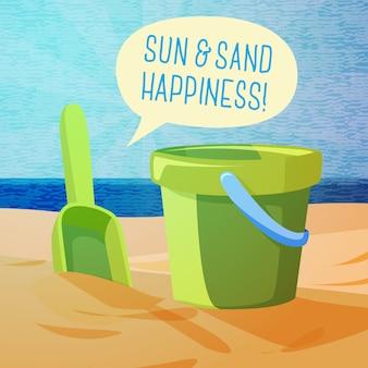 Nettes sommerplakat - sonne, sand, spaten und eimer am ufer, mit sprechblase für ihren text.