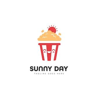 Nettes sonniges tag popcorn-maskottchen-charakter-logo-symbol