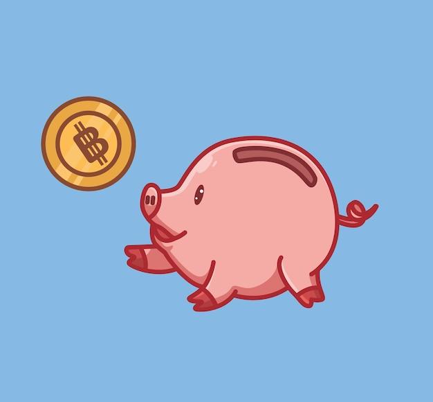 Nettes sparen-geldschweinkarikaturtiernaturkonzept lokalisierte illustration. flacher stil geeignet für sticker icon design premium logo vektor. maskottchen-charakter