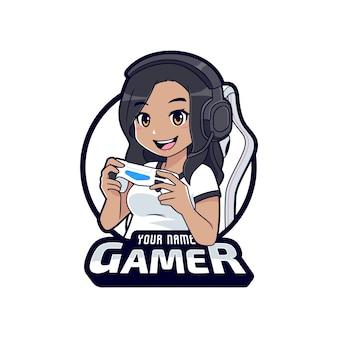 Nettes spielercharakter-maskottchen-logo, dunkle hautspielermädchen-cartoon-esport-logo-vorlage