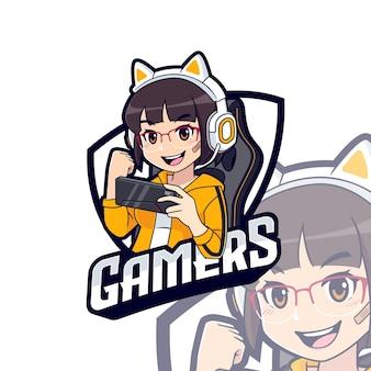 Nettes spielercharakter-maskottchen-logo, streamer-mädchen-esport-logo-vorlage