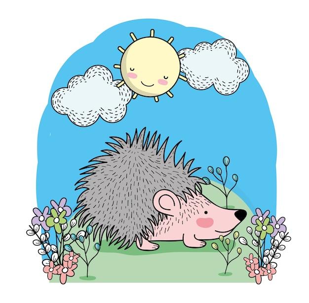 Nettes stachelschwein mit glücklicher sonne und wolken