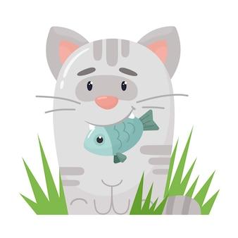 Nettes stilisiertes kätzchen mit einem fisch in seinen zähnen. im flachen cartoon-stil.