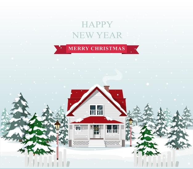 Nettes stilvolles europäisches haus, das für weihnachten verziert wird. frohe weihnachten landschaft. illustration.