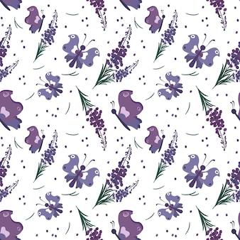 Nettes stilvolles nahtloses muster mit lila blumen und schmetterlingen. frühlingsdruck eignet sich für textilien, geschenkpapier, verschiedene designs. flache vektorillustration