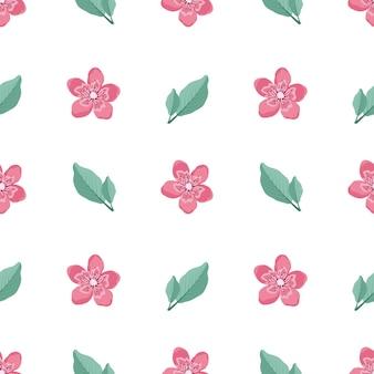Nettes stilvolles nahtloses muster mit sakura-blumen und zweigen