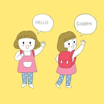Nettes studentenmädchen der karikatur sagen hallo und auf wiedersehen vektor.