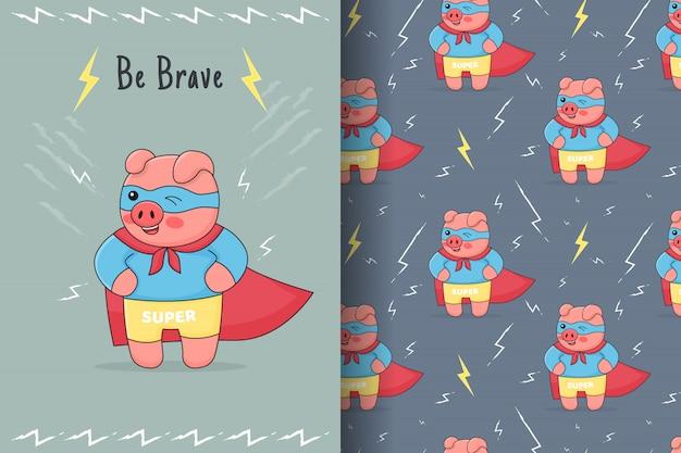 Nettes superheldenschweinchen nahtloses muster und karte