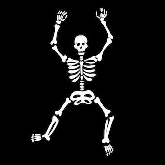 Nettes tanzendes skelett auf schwarzem hintergrund