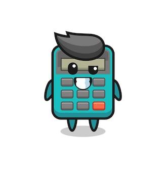 Nettes taschenrechner-maskottchen mit optimistischem gesicht, süßes stildesign für t-shirt, aufkleber, logo-element