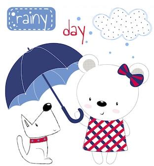 Nettes teddybärmädchen mit regenschirm und welpen