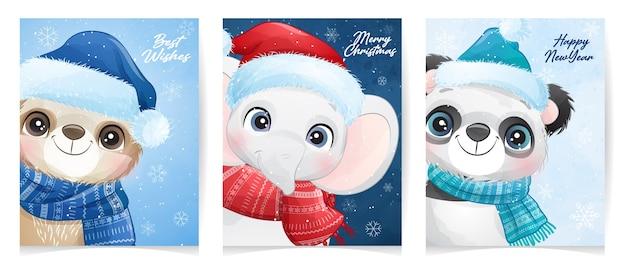 Nettes tier für weihnachten mit aquarellillustration