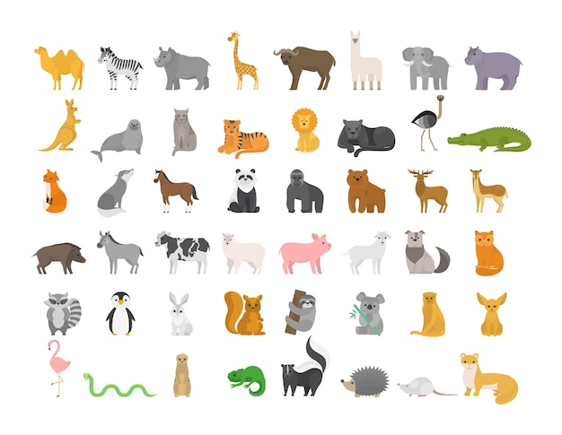 Nettes tier gesetzt mit bauernhof und wildem charakter. katze und löwe, elefant und affe. zoosammlung. isolierte flache vektorillustration